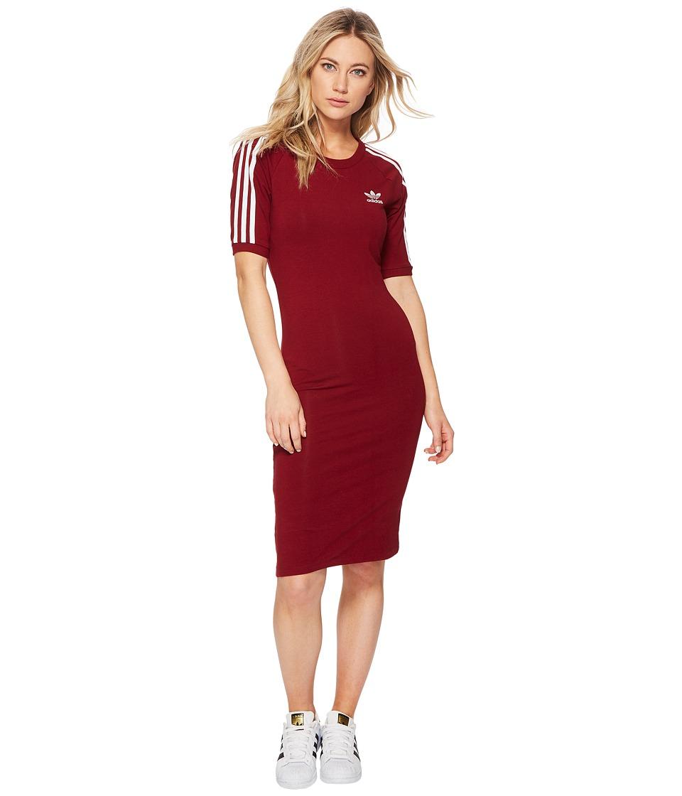 Image of adidas Originals - 3 Stripes Dress (Collegiate Burgundy) Women's Dress