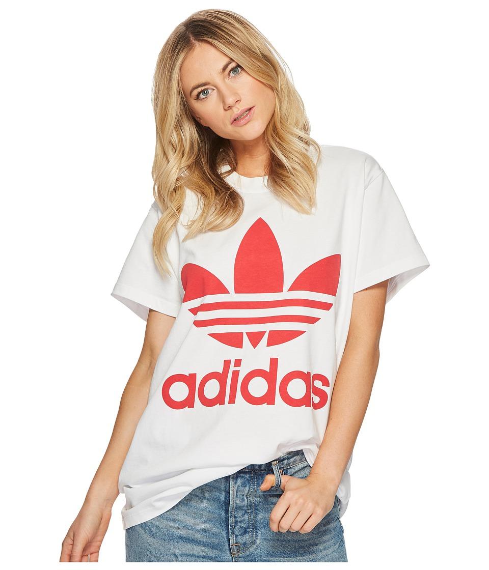 adidas Originals Big Trefoil Tee (White/Radiant Red) Women