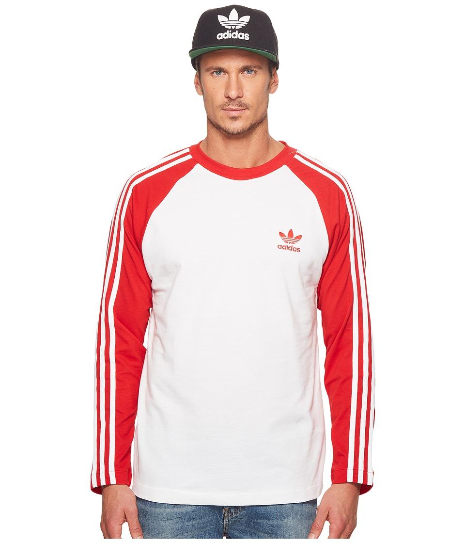 Image of adidas Originals - 3-Stripes Long Sleeve Tee (Scarlet) Men's T Shirt