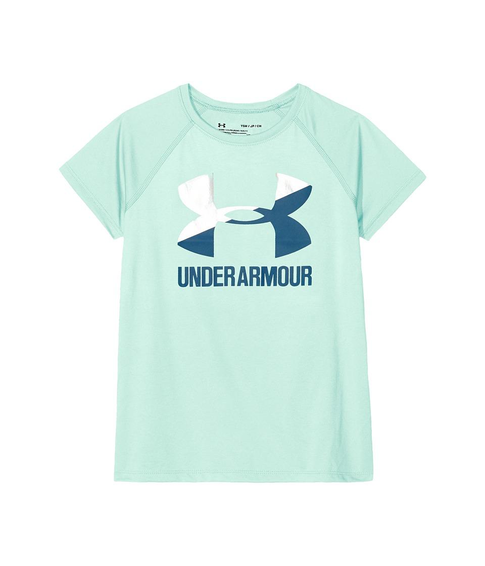 Under Armour Kids - UA Solid Big Logo Short Sleeve Tee (Big Kids) (Refresh Mint/Green Typhoon) Girls T Shirt