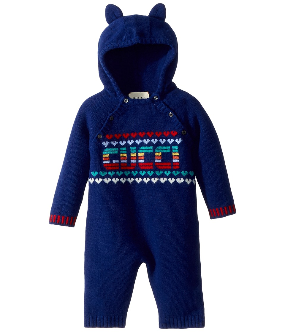Gucci Kids - Sleepsuit 478549X7A48 (Infant) (Multi Blue) Boys Jumpsuit & Rompers One Piece