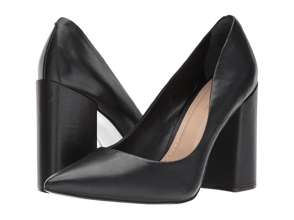 Massimo Matteo Block Heel Pump (Black Leather) High Heels