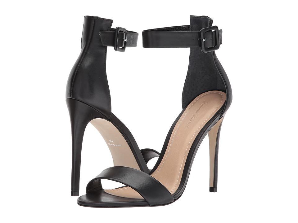 Massimo Matteo Open Toe Strap Pump (Black Leather) High Heels