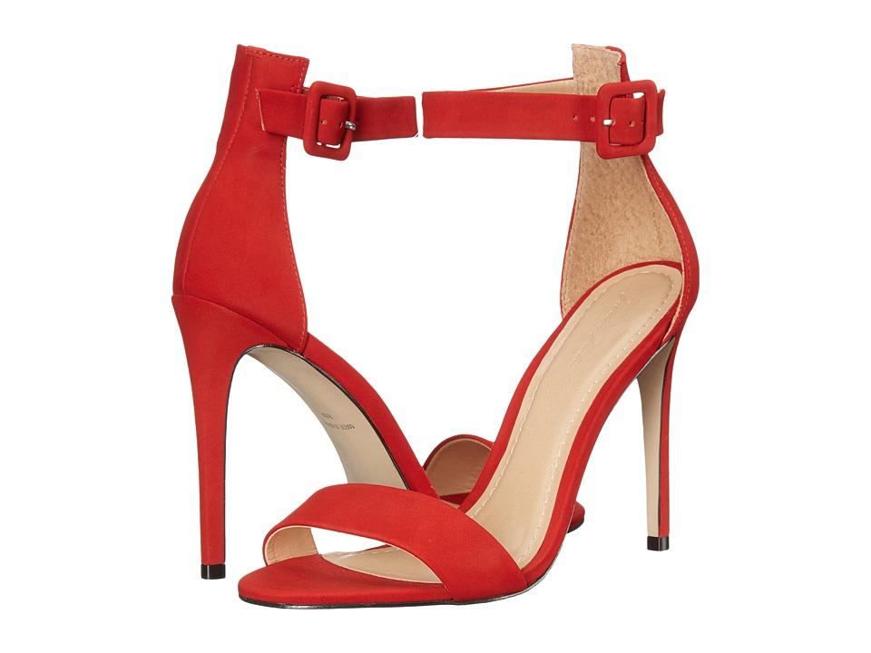 Massimo Matteo Open Toe Strap Pump (Brick Red Nubuck) High Heels
