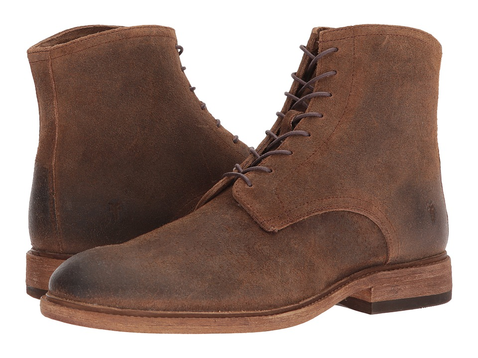 Frye - Chris Lace-Up (Tan Waxed Suede) Mens Boots