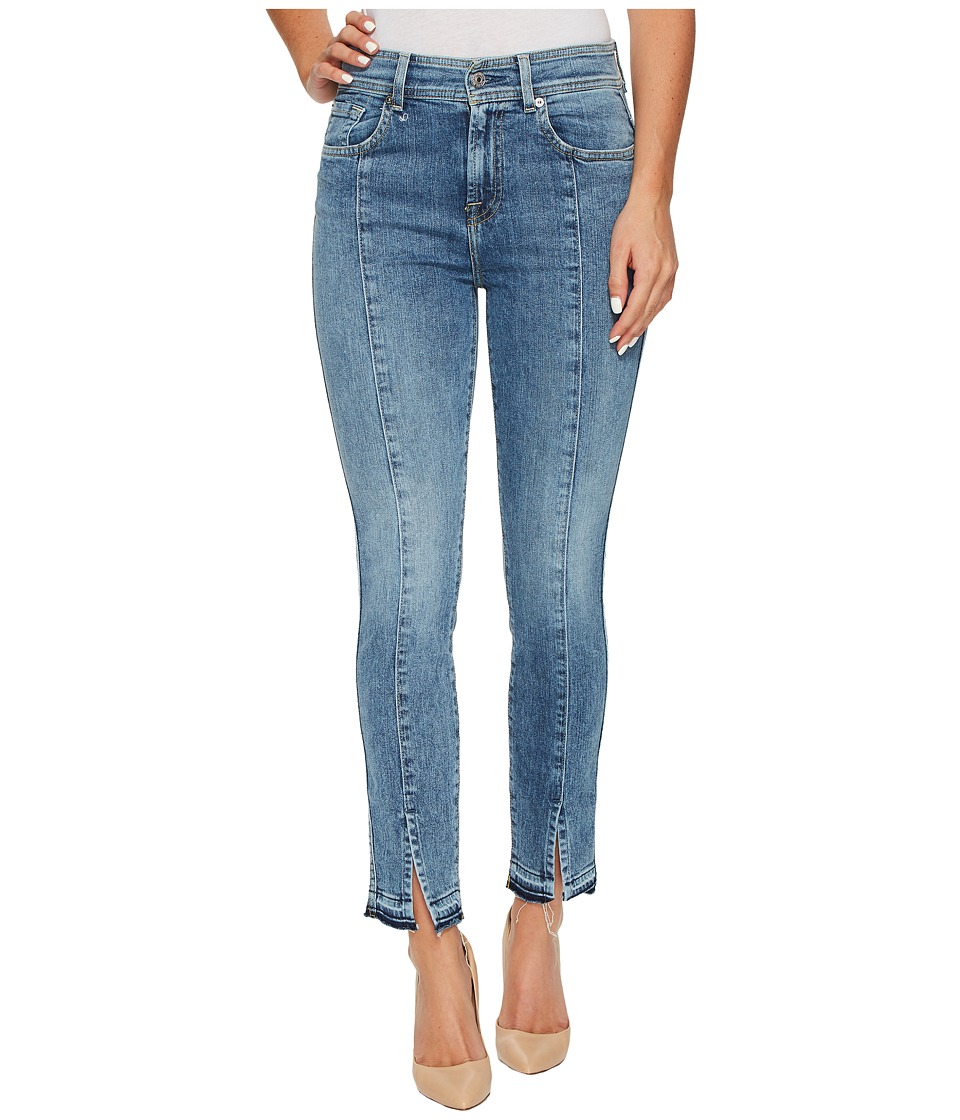 7 For All Mankind - The Ankle Skinny w/ Seams Front Splits in Rockaway Beach