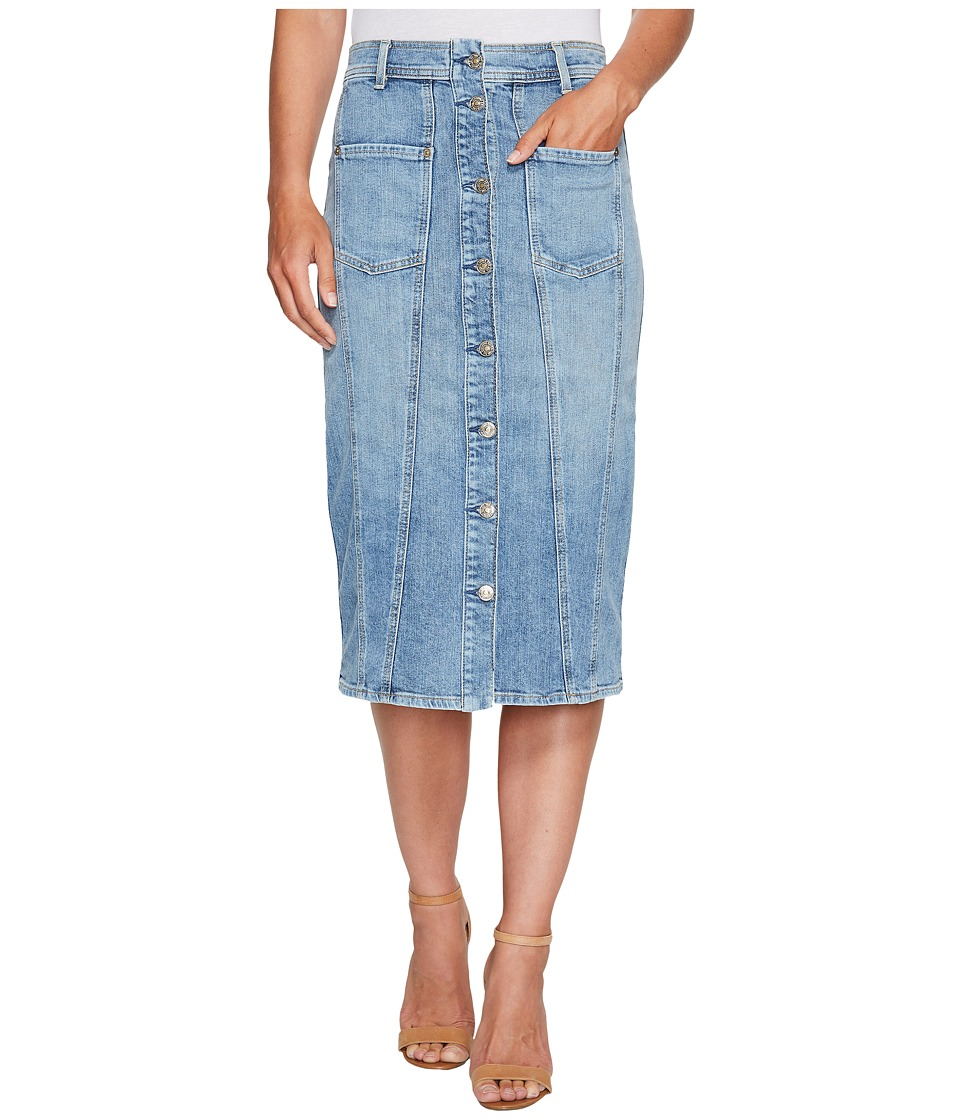 7 For All Mankind - Button Front Pieced Skirt in Rockaway Beach 2