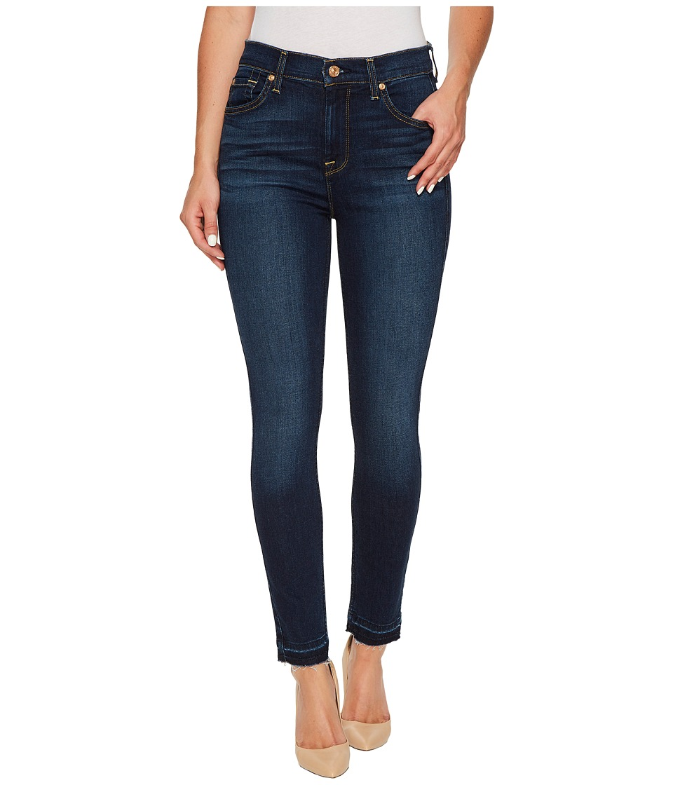 7 For All Mankind High Waist Ankle Skinny w/ Released Hem in Victoria Blue (Victoria Blue) Women