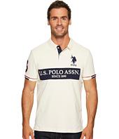 U.S. POLO ASSN. - Slim Fit Color Block Short Sleeve Stretch Pique Polo Shirt