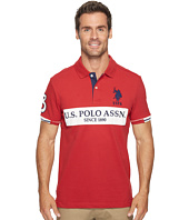 U.S. POLO ASSN. - Slim Fit Color Block Short Sleeve Stretch Pique Polo Shirt