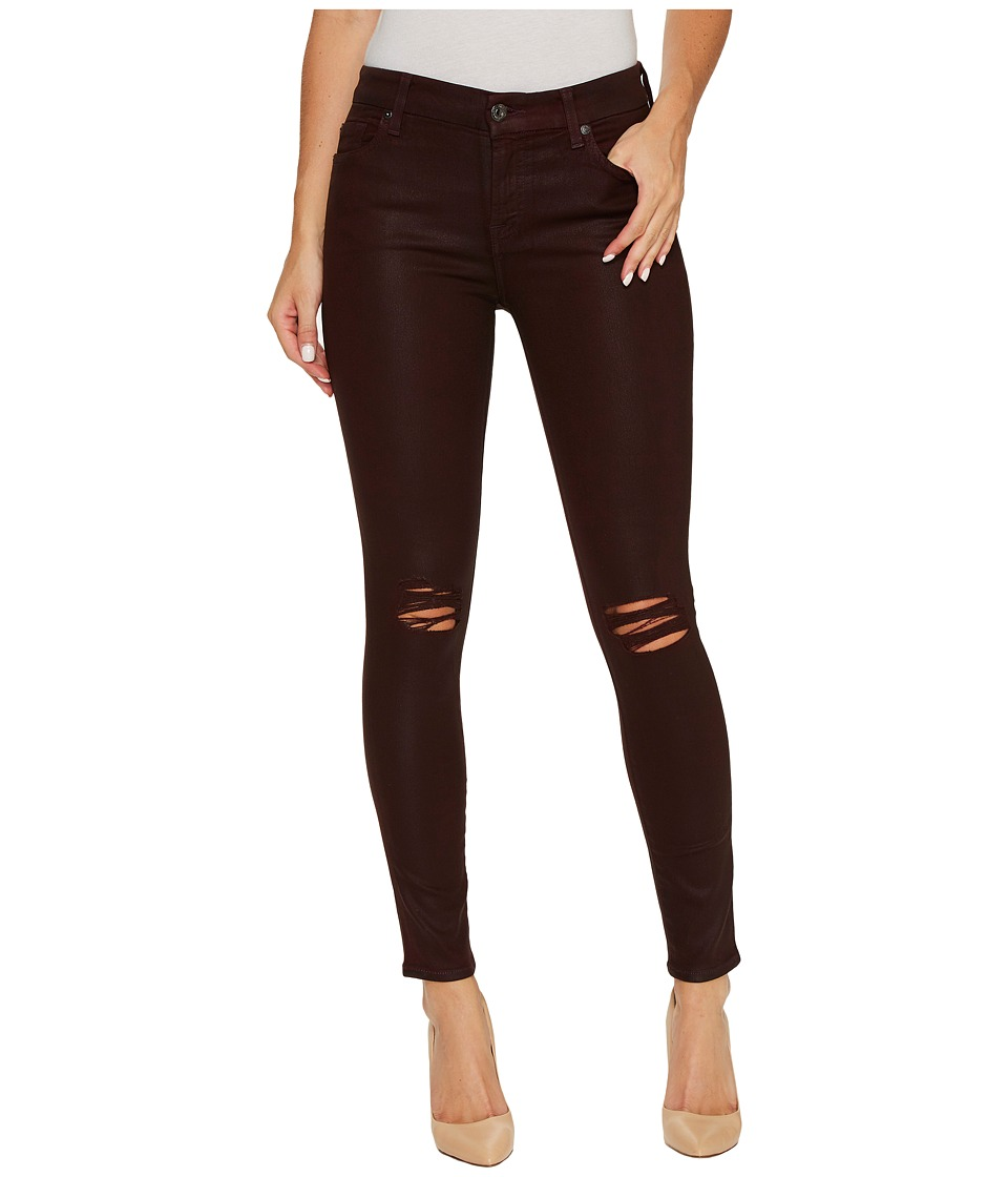 7 For All Mankind - The Ankle Skinny w/ Destroy in Scarlett w/ Holes