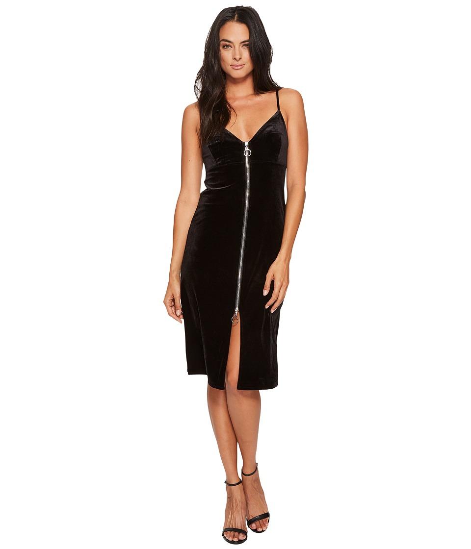 7 For All Mankind - Velvet Slip Dress w/ Zip in Black