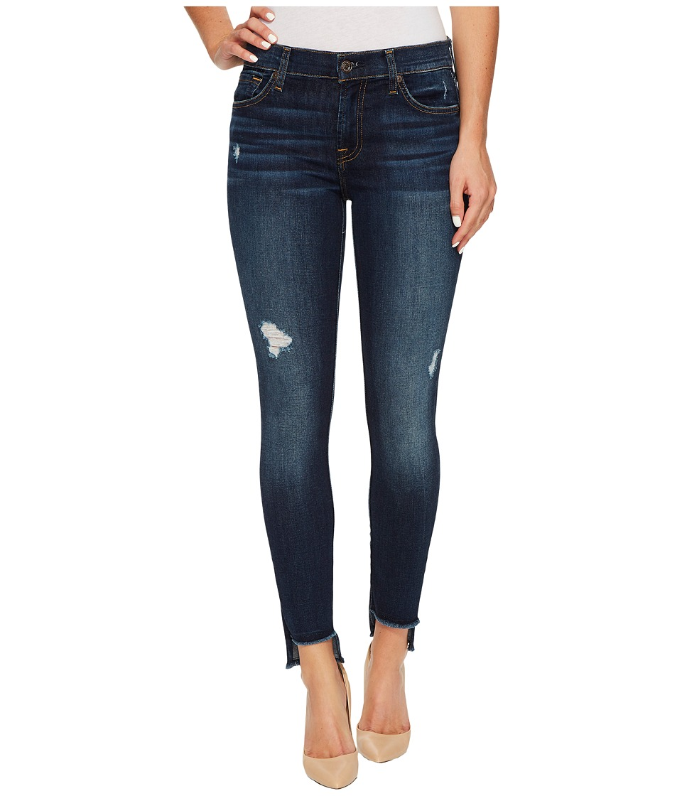 7 For All Mankind - The Ankle Skinny w/ Step Hem Destroy in Dark Riverside Drive