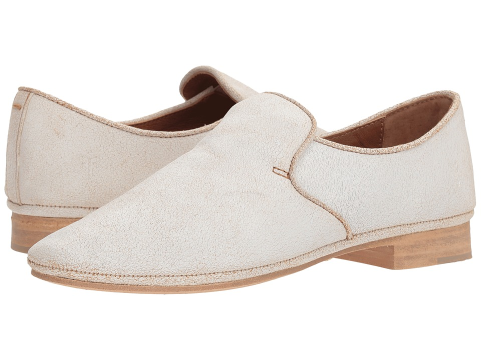 Frye - Ashley Slip-On (White Suede Crackle) Womens Slip on  Shoes
