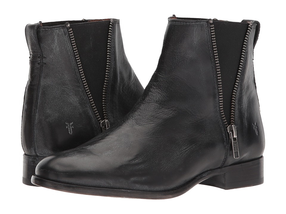 Frye Carly Zip Chelsea (Black Waxed Full Grain) Women's Dress Pull-on Boots