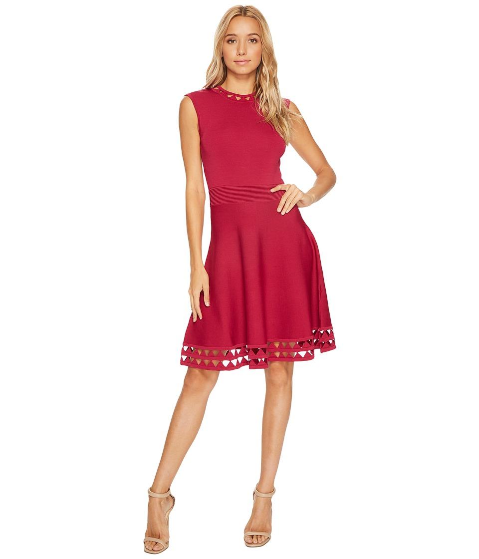 Ted Baker Kathryn Cutwork Knitted Skater Dress (Deep Pink) Women