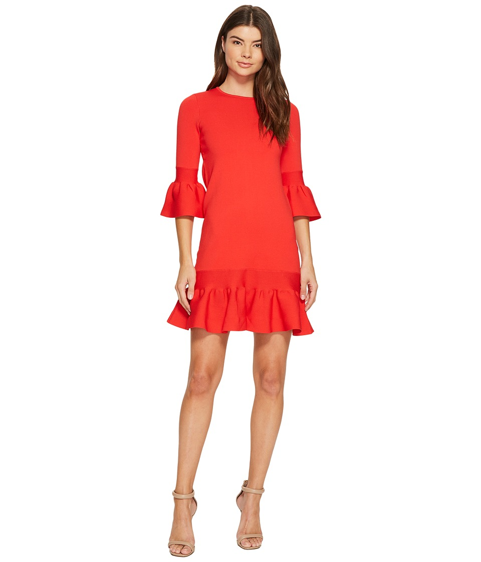 Ted Baker Tynia Peplum Sleeve Knitted Dress (Bright Red) Women