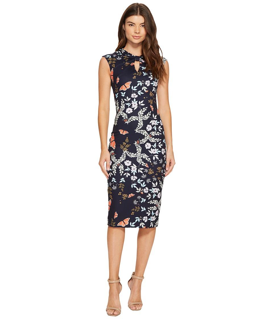 Ted Baker Kairra Kyoto Gardens Bow Neck Dress (Mid Blue) Women