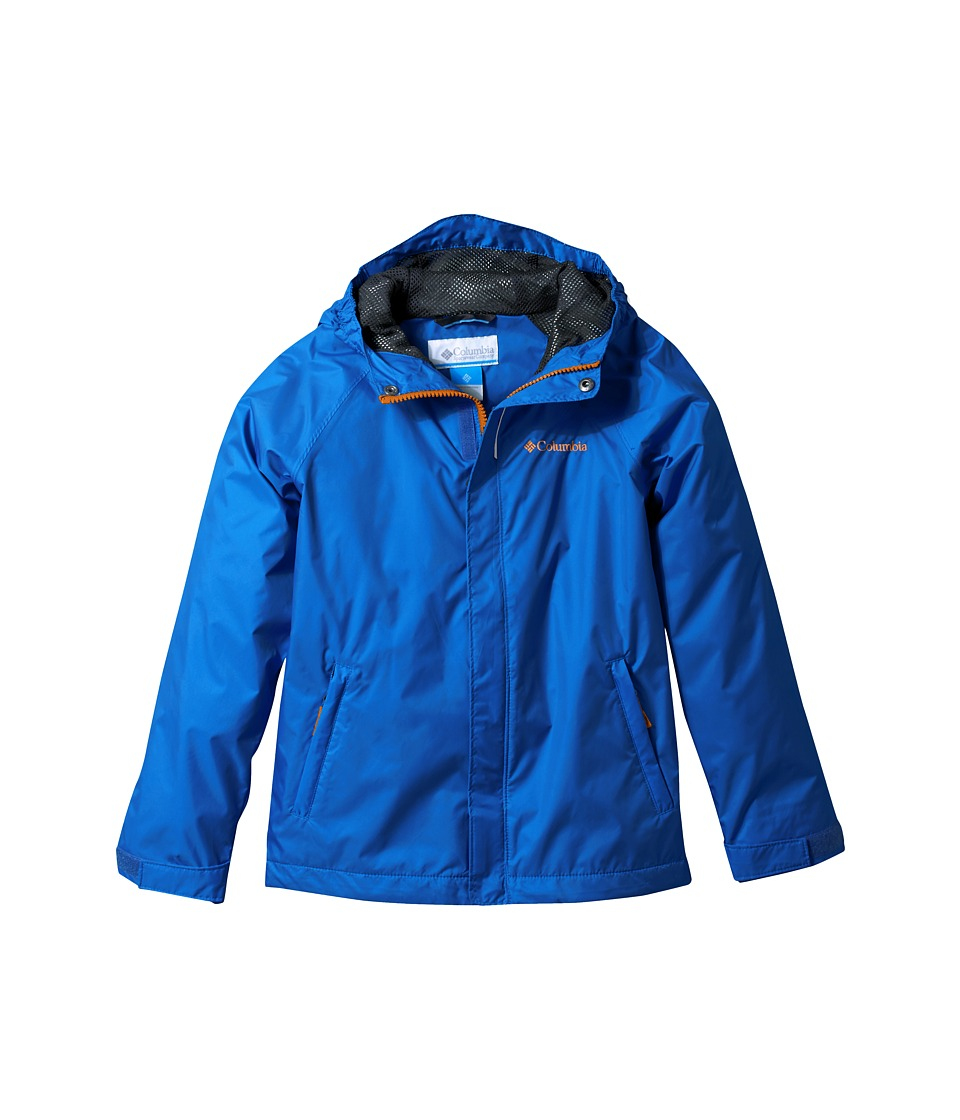 Columbia Kids - Fast Curioustm Rain Jacket (Little Kids/Big Kids) (Super Blue Campin Invizzaprint/Collegiate Navy) Boys Coat