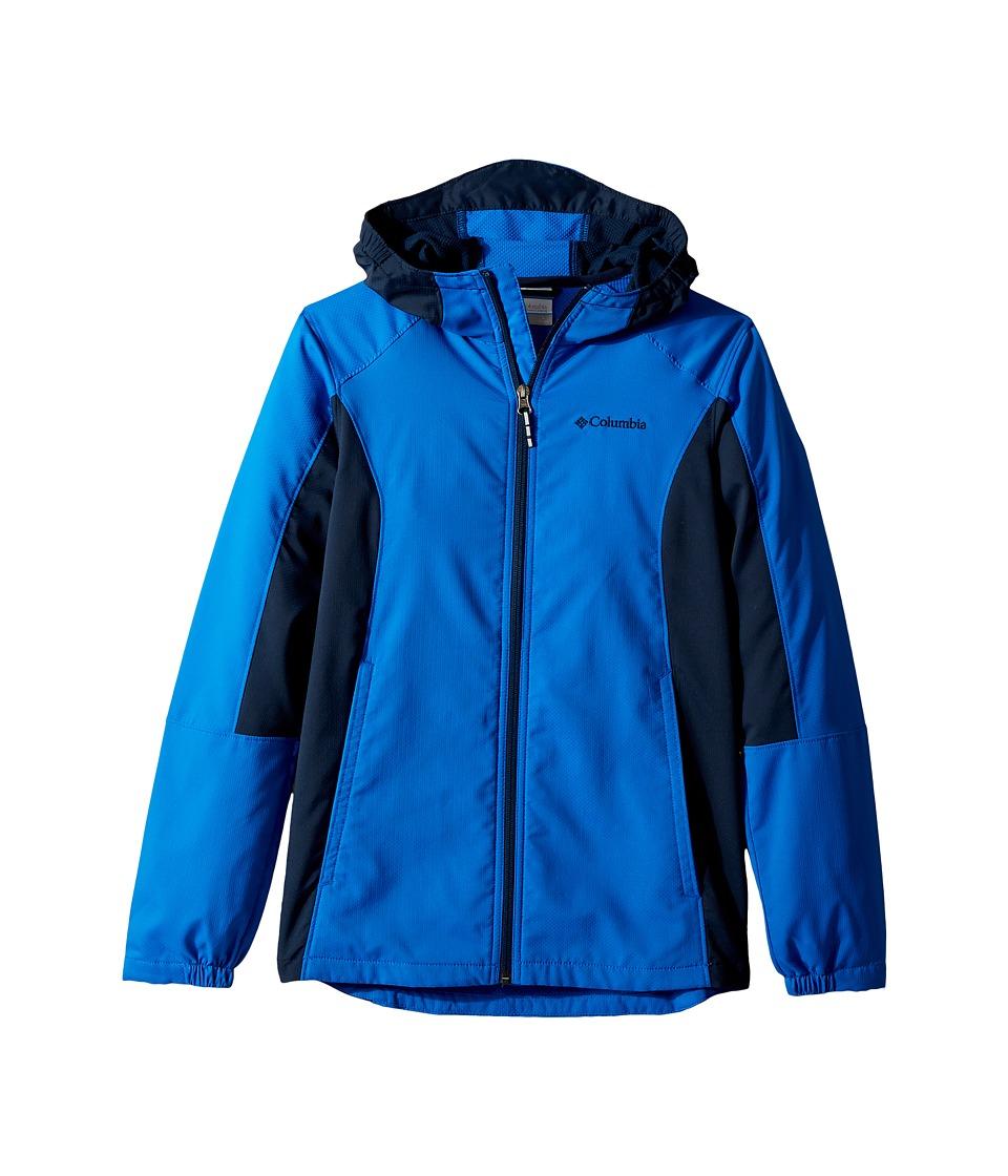 Columbia Kids - SplashFlashtm Hooded Softshell Jacket (Little Kids/Big Kids) (Super Blue/Collegiate Navy) Boys Coat