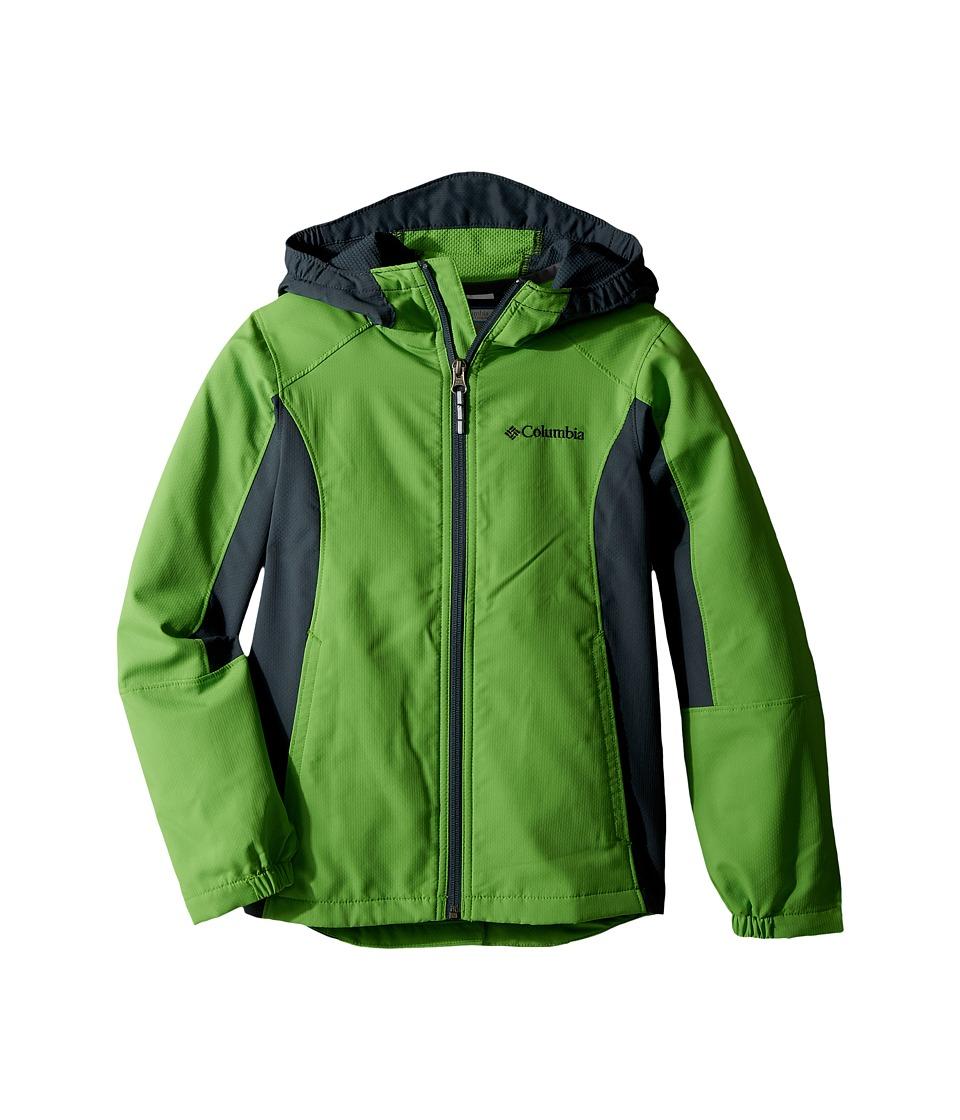 Columbia Kids SplashFlashtm Hooded Softshell Jacket (Little Kids/Big Kids) (Cyber Green/Mystery) Boy