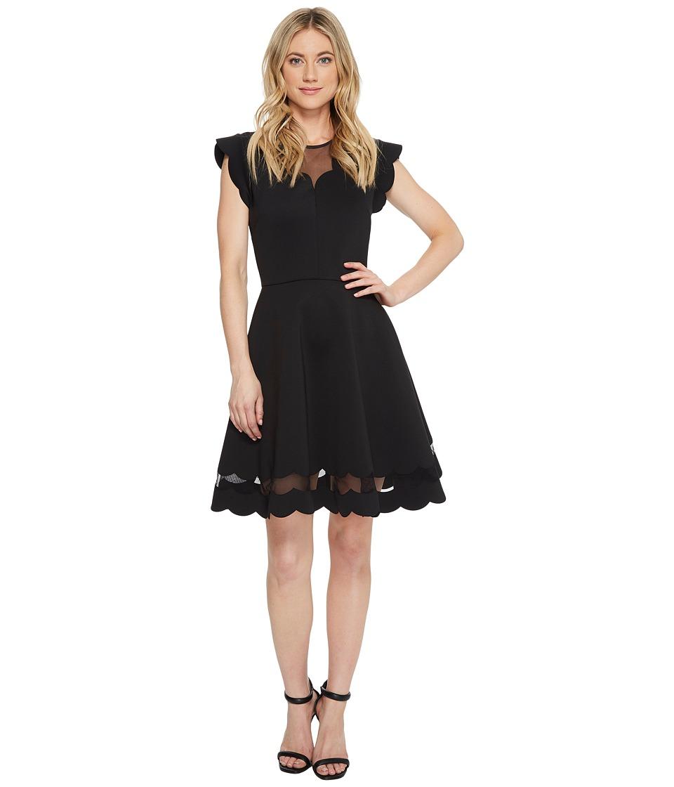 Ted Baker - Sharlot Mesh Paneled Scallop Dress (Black) Women's Dress
