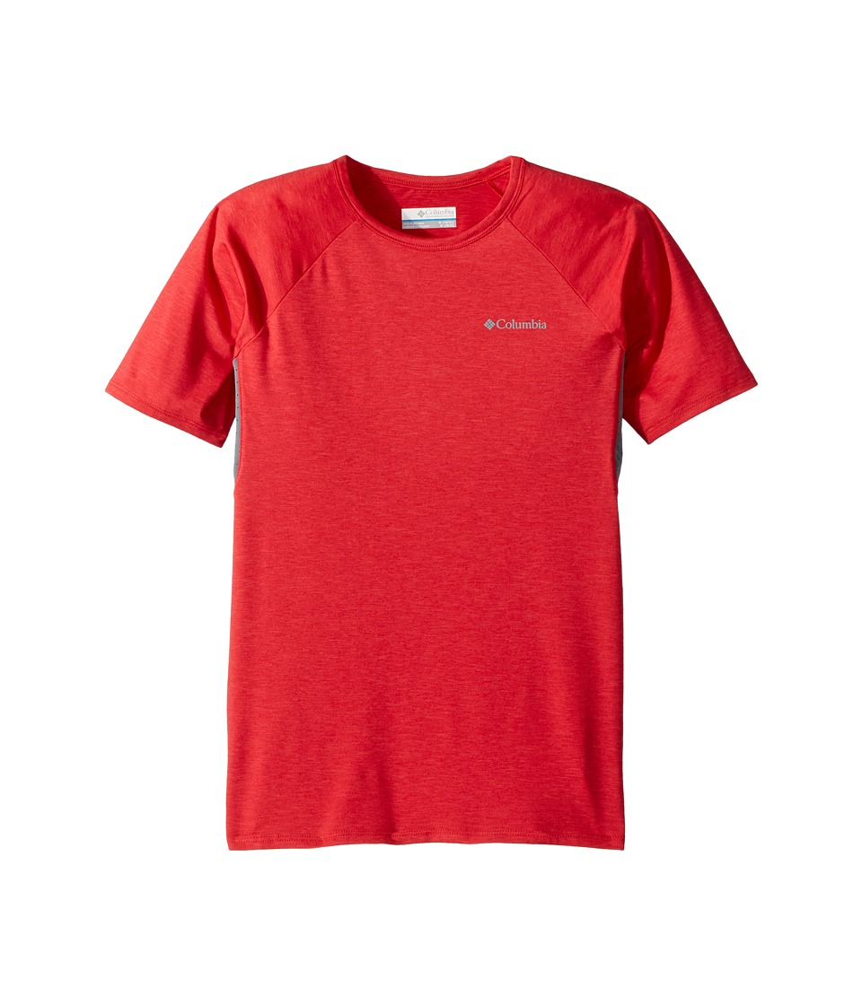 Columbia Kids - Silver Ridge II Short Sleeve Tee (Little Kids/Big Kids) (Bright Red Heather/Grey Ash) Boys Short Sleeve Pullover