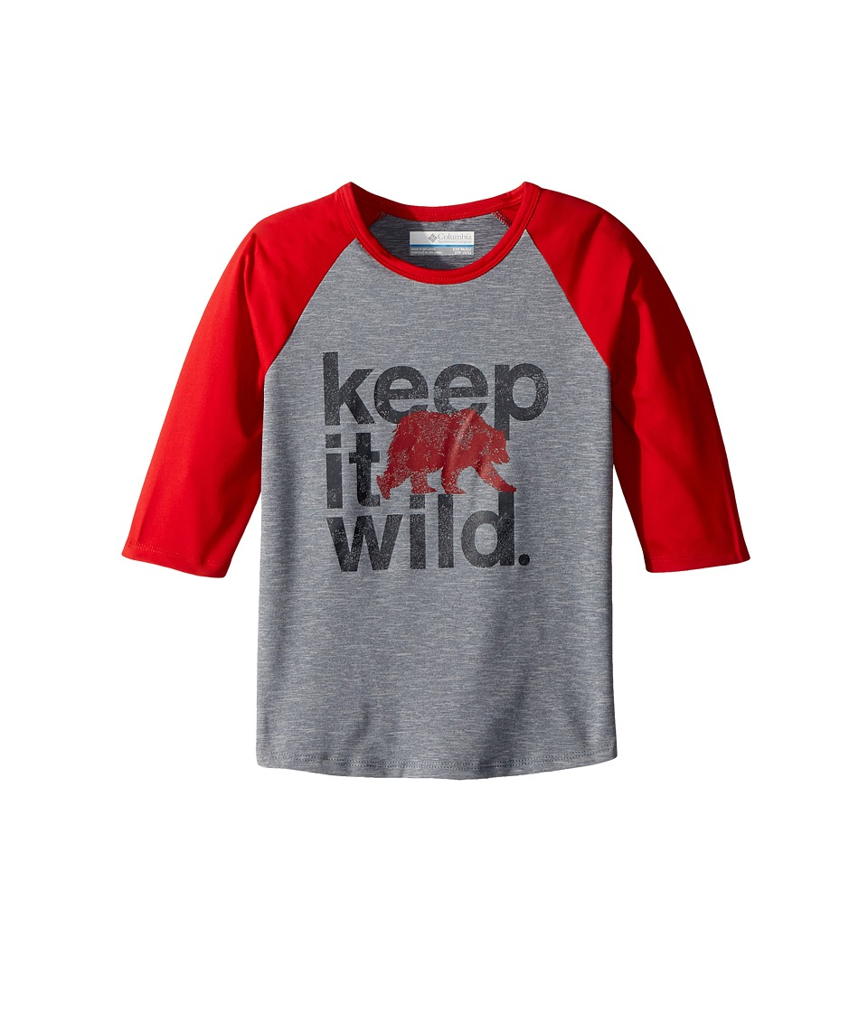 Columbia Kids - Outdoor Elements 3/4 Sleeve Shirt (Little Kids/Big Kids) (Bright Red/Grey Ash Heather) Boys T Shirt
