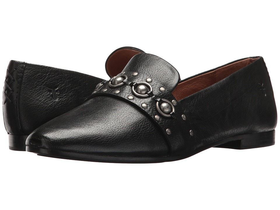 Frye Terri Multi Stud Loafer (Black Tumbled Buffalo) Women's Slip-on Dress Shoes