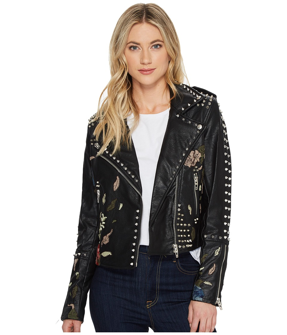 Blank NYC - Studded Floral Embroidered Moto Jacket in Bud...