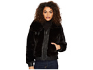 Blank NYC Fake Fur Jacket with Vegan Leather Detail in Black Noise