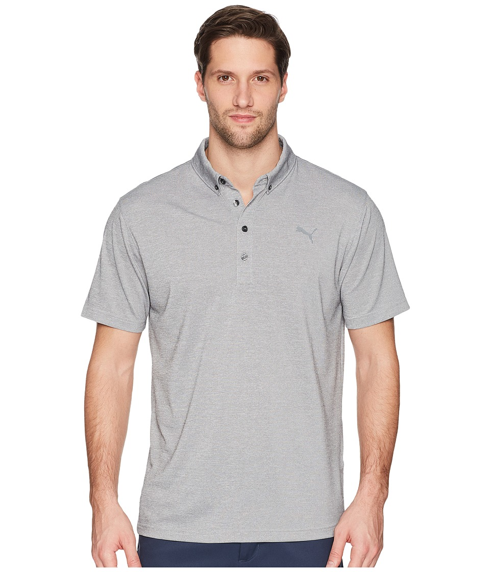 PUMA Golf - Oxford Heather Polo (Quiet Shade Heather) Mens Short Sleeve Pullover
