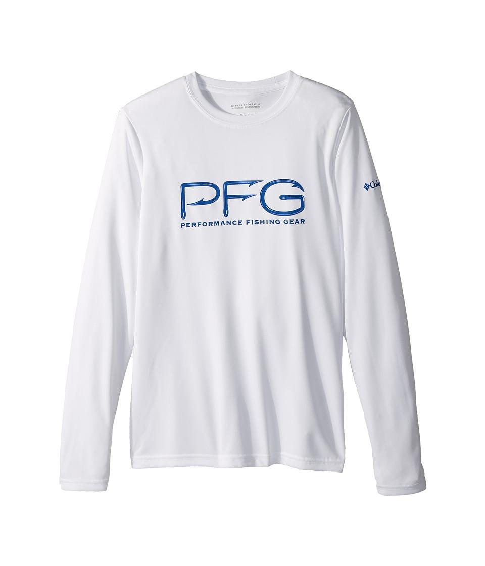 Columbia Kids - PFG Hooks Long Sleeve Shirt (Little Kids/Big Kids) (White/Vivid Blue) Boys Long Sleeve Pullover