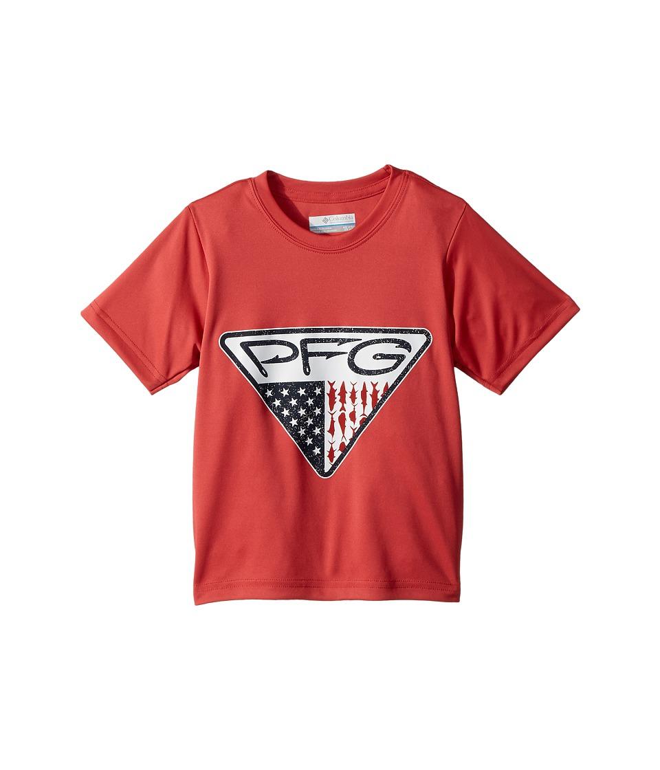 Columbia Kids - PFG Triangle Fill Short Sleeve Shirt (Little Kids/Big Kids) (Sunset Red Hooks Graphic) Boys T Shirt