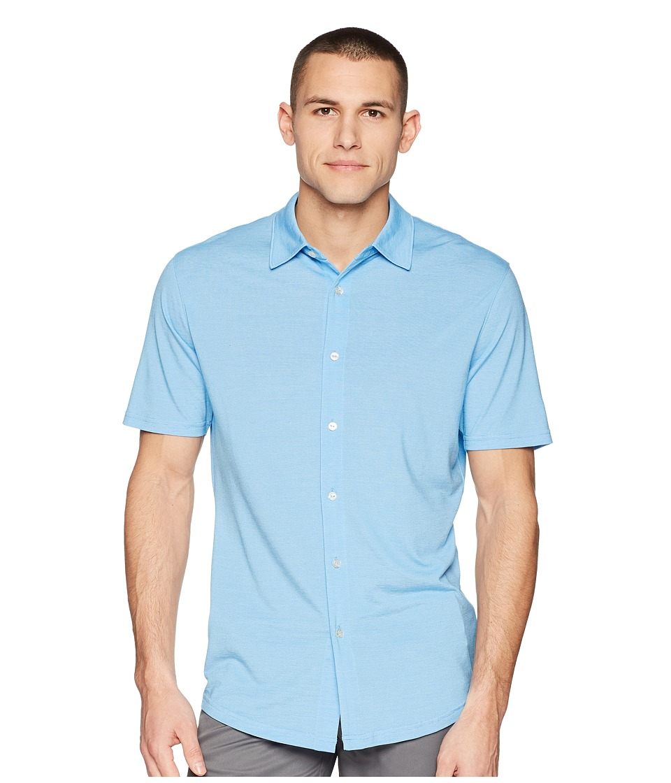 PUMA Golf - Knit Shirt (Electric Blue Lemonade) Mens Short Sleeve Button Up