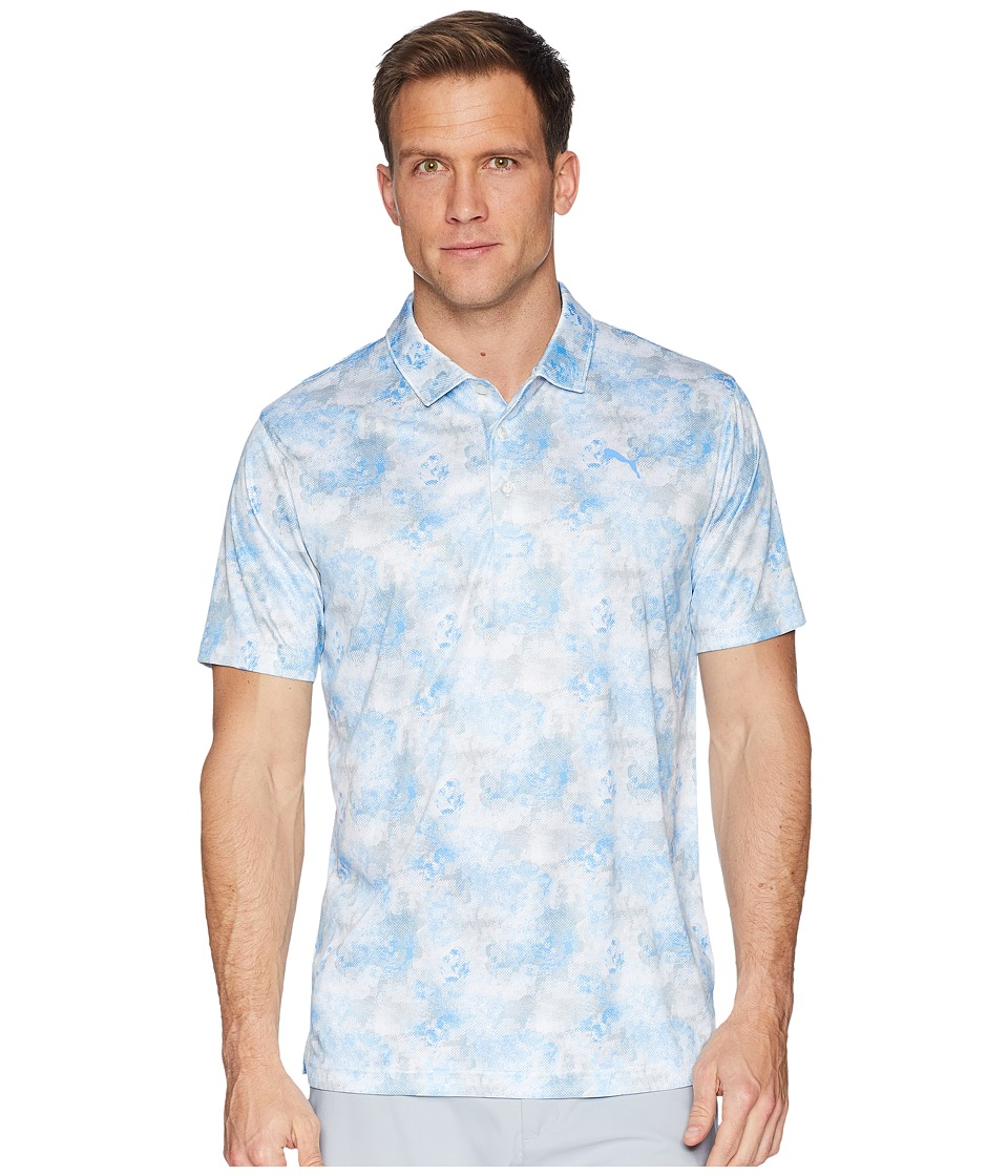 PUMA Golf - PWRCOOL Digital Camo Polo (Bright White/Marina) Mens Short Sleeve Pullover