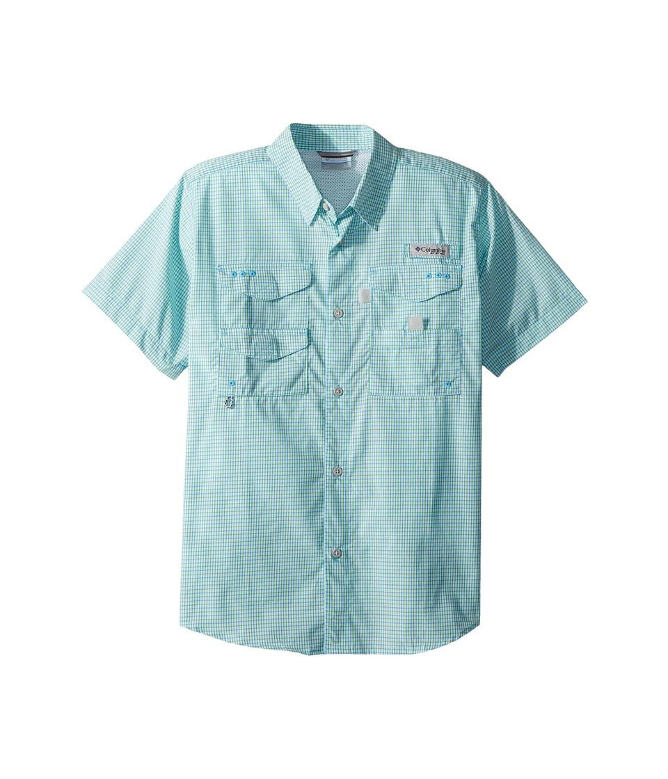 Columbia Kids - Super Boneheadtm S/S Shirt (Little Kids/Big Kids) (Riptide Mini Plaid) Boys Short Sleeve Button Up