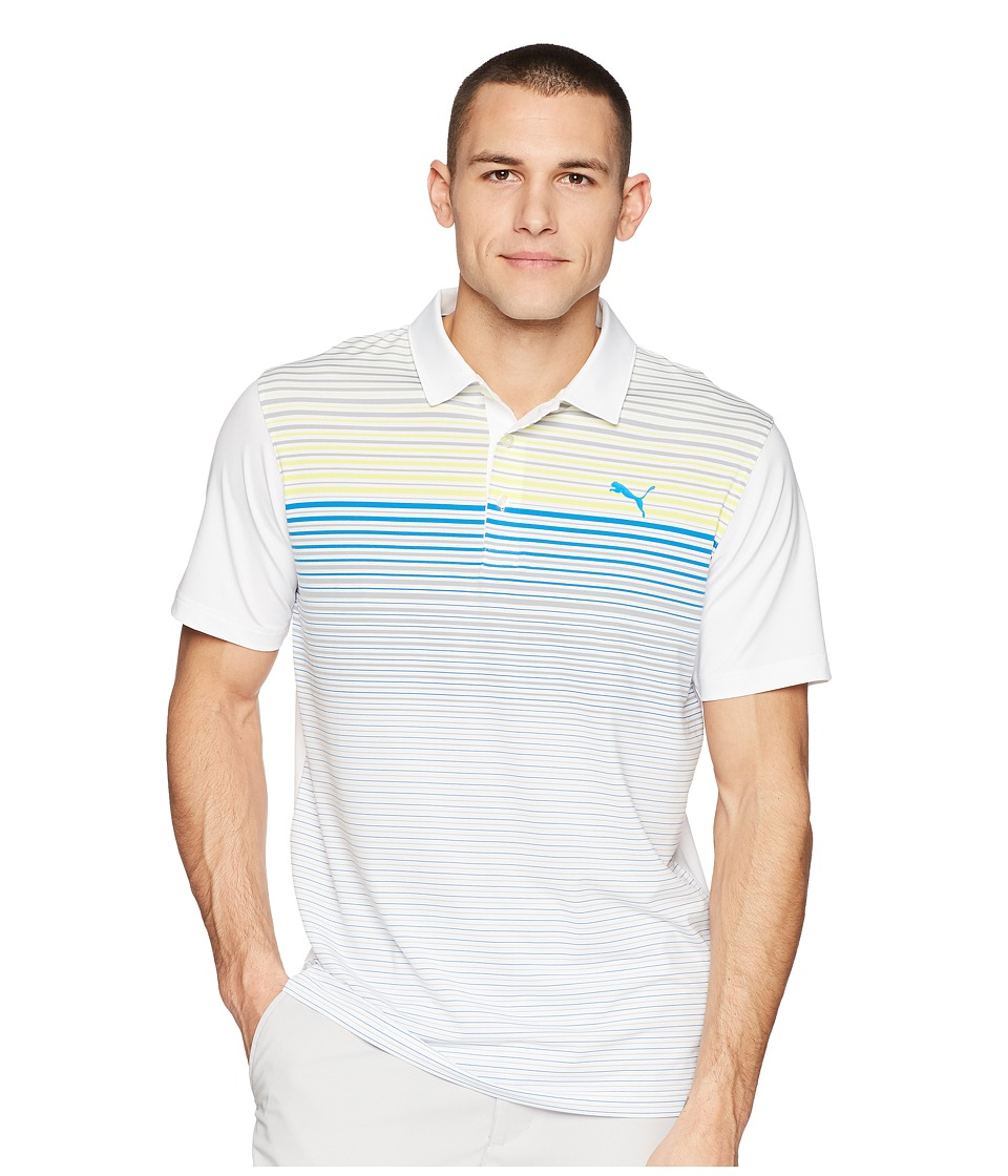 PUMA Golf - Highlight Stripe Polo (Lemon Tonic) Mens Short Sleeve Knit