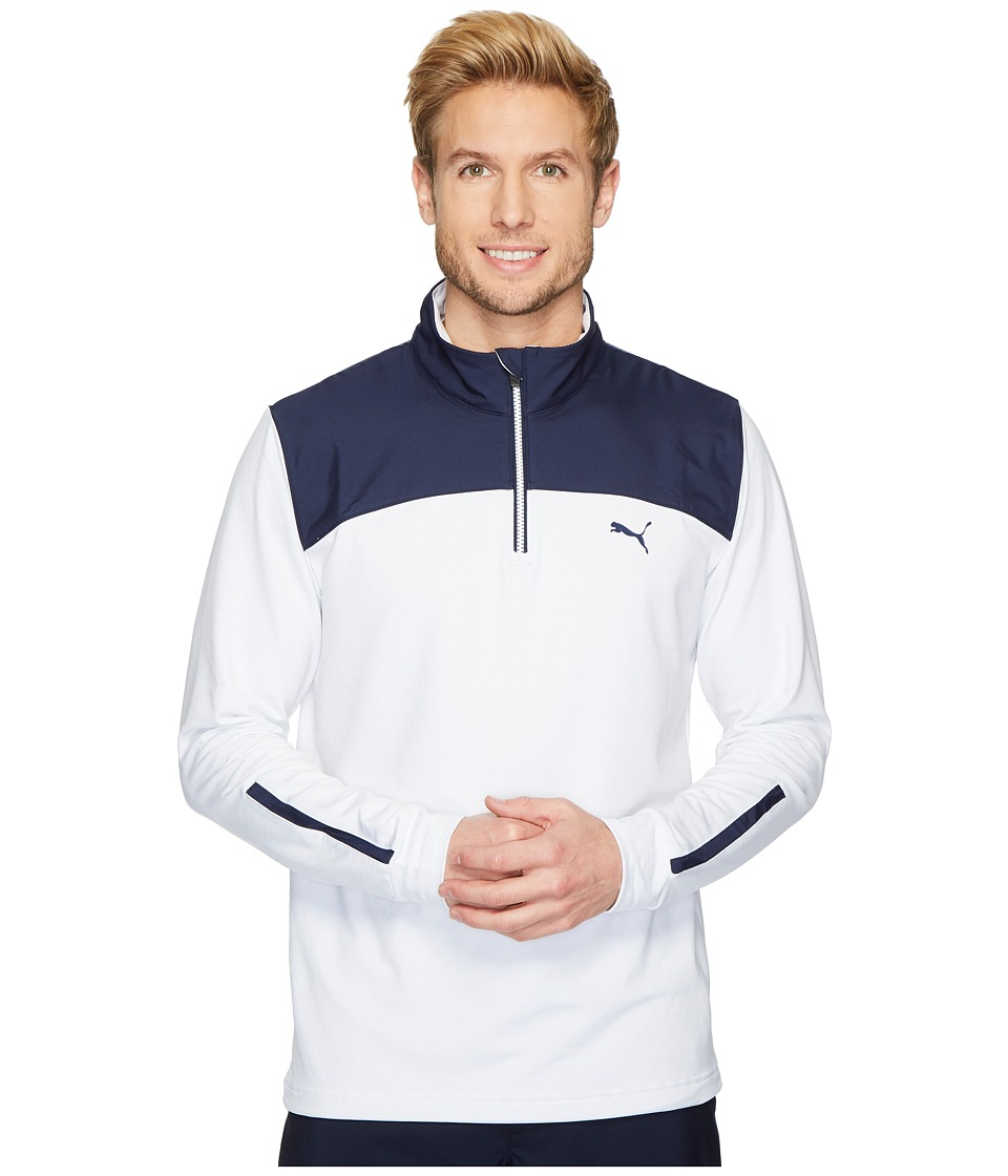 PUMA Golf - PWRWRM 1/4 Zip (Bright White/Peacoat) Mens Long Sleeve Pullover