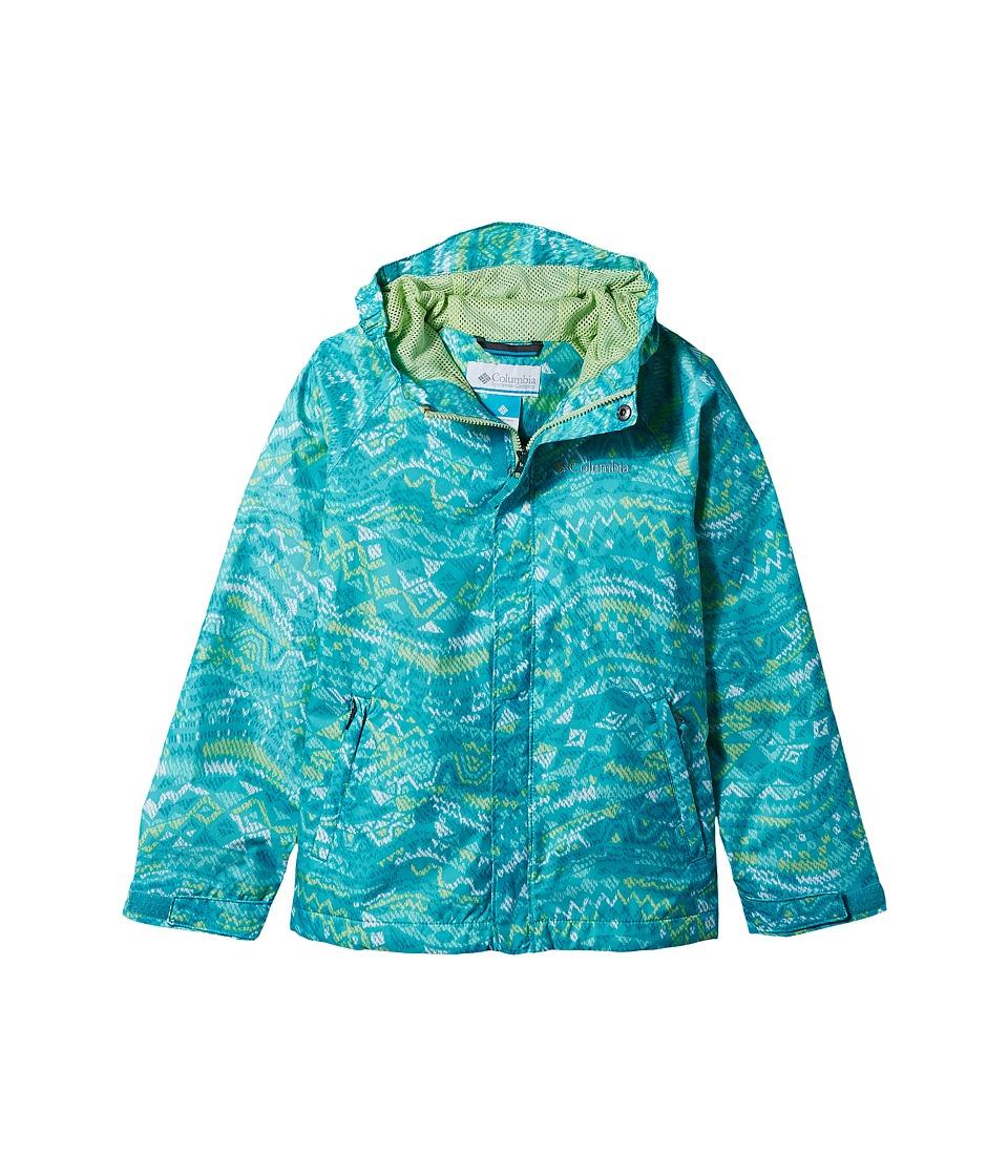 Columbia Kids - Fast Curious Rain Jacket (Little Kids/Big Kids) (Geyser Wave Print/Jade Lime) Girls Coat
