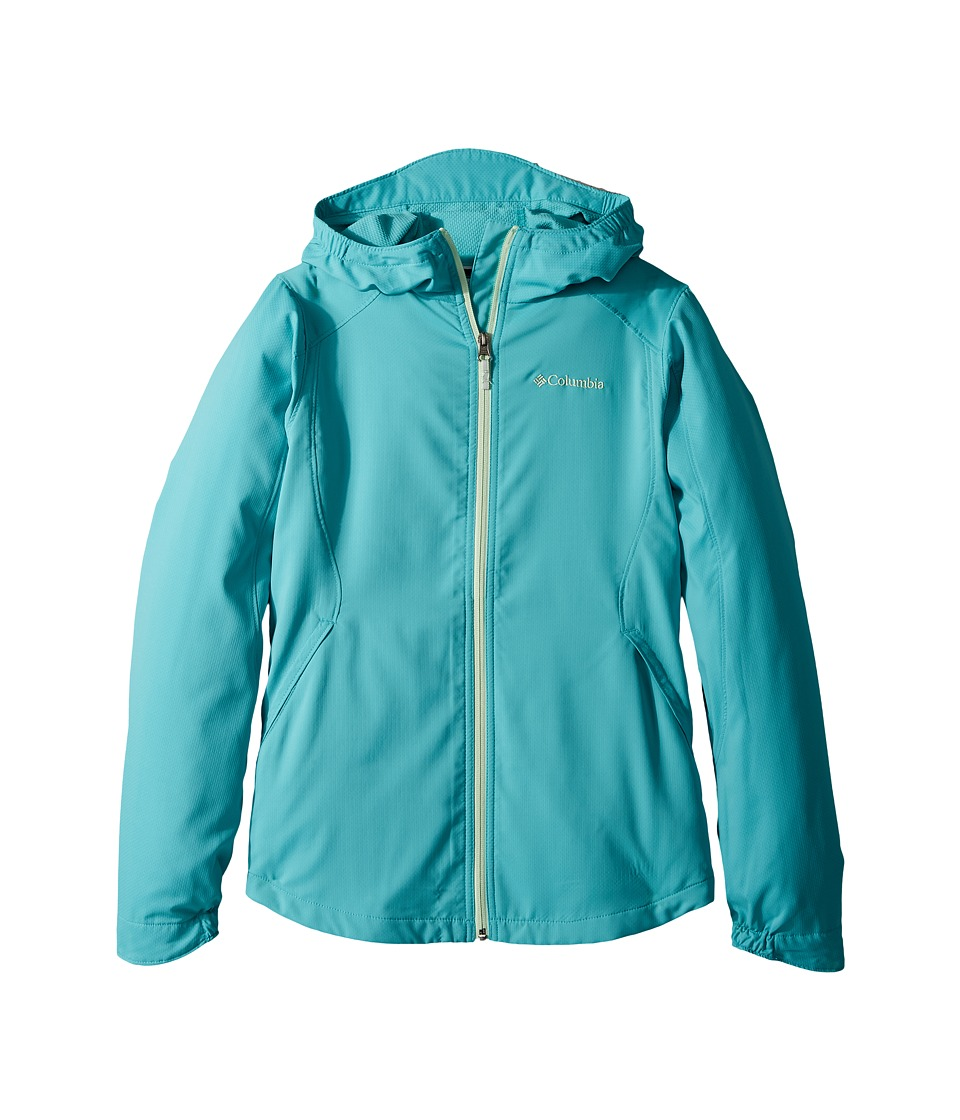 Columbia Kids - Splash Flashtm II Hooded Softshell Jacket (Little Kids/Big Kids) (Geyser/Key West) Girls Coat