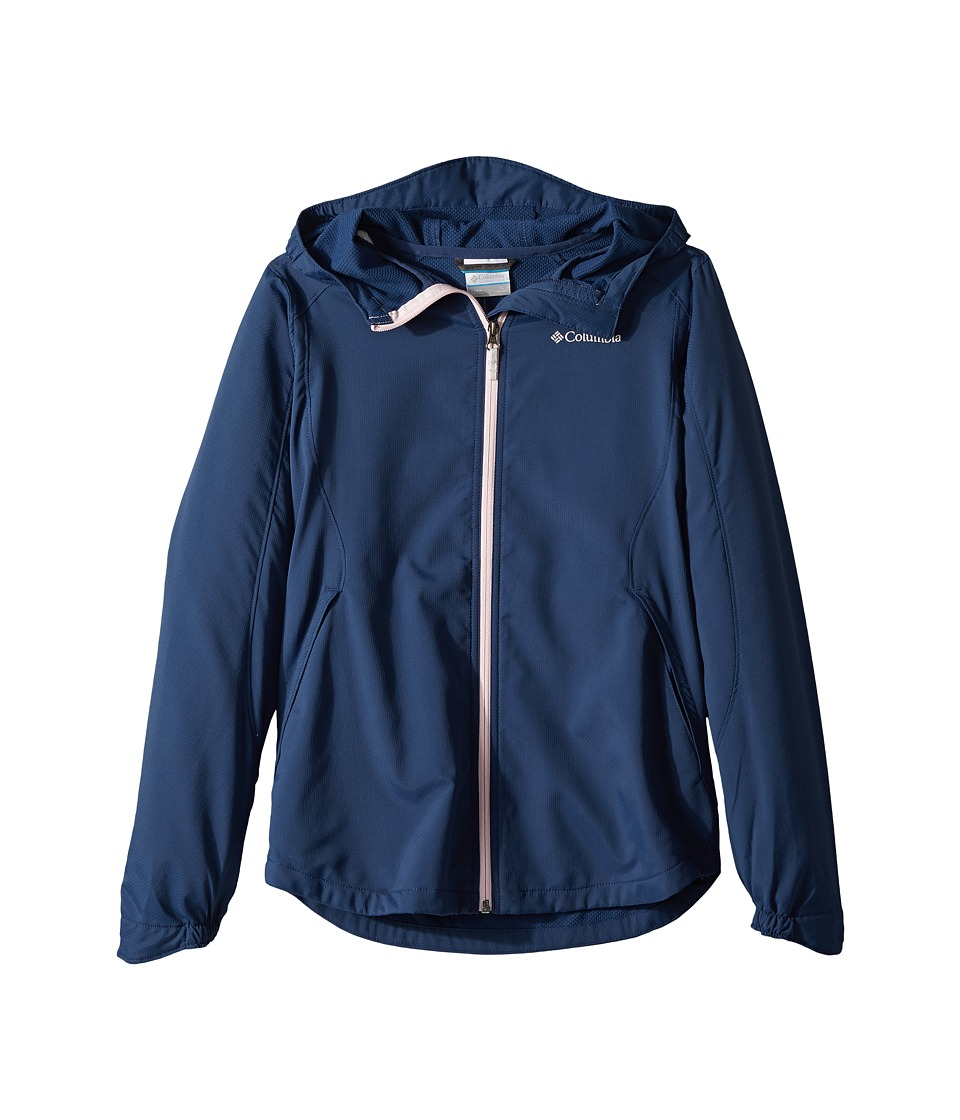 Columbia Kids Splash Flashtm II Hooded Softshell Jacket (Little Kids/Big Kids) (Carbon/Whitened Pink) Girl