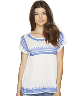 ROMEO & JULIET COUTURE - Embroidered Gauze Peasant Top