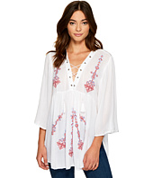 ROMEO & JULIET COUTURE - Multicolor Embroidered Lace-Up Tunic Top