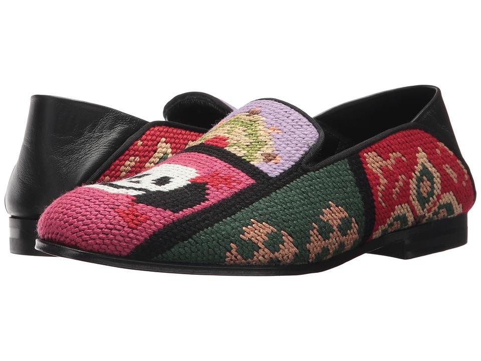 Alexander McQueen Tapestry Patchwork Slipper (Pink Black) Women