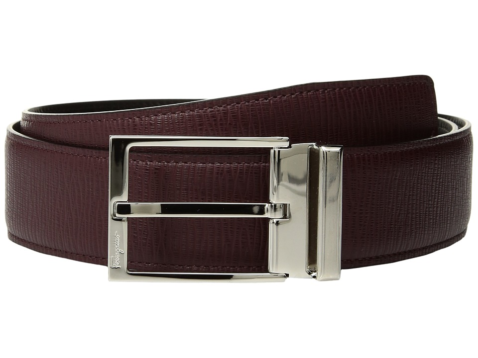 Salvatore Ferragamo - Double Adjustable Gancino Calf Belt (679081) (Wine) Mens Belts
