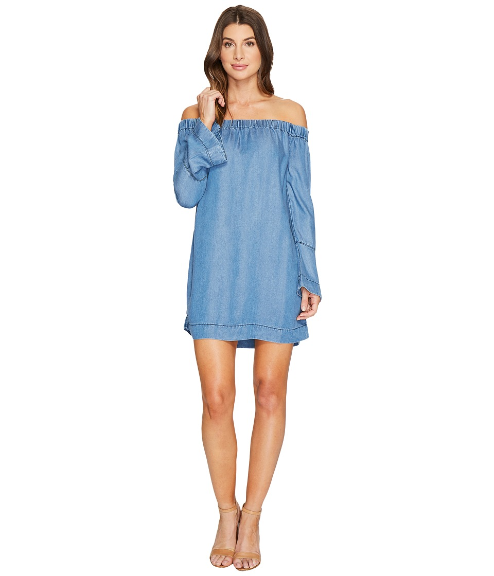 7 For All Mankind - Bell Sleeve Off Shoulder Denim Dress in Bluestone