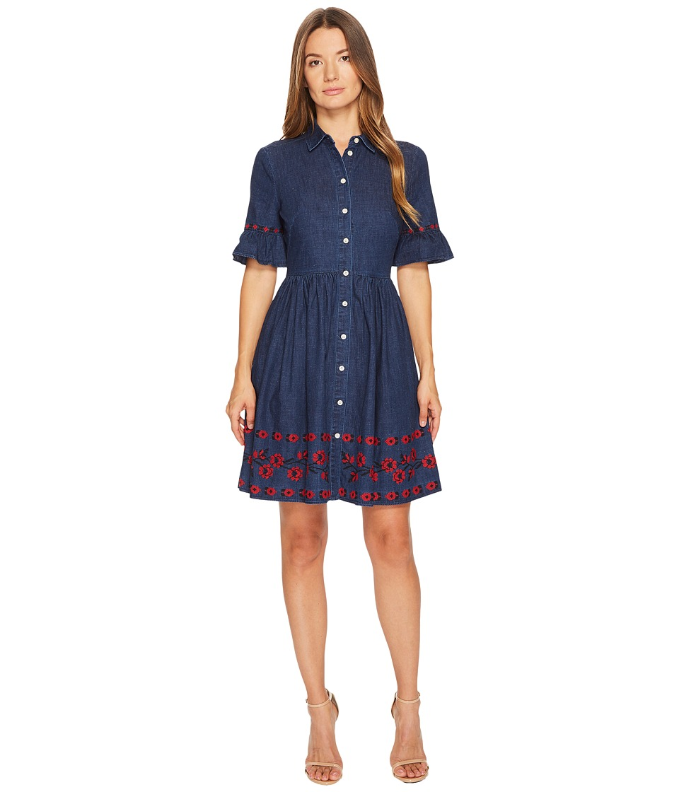 Kate Spade New York Chambray Embroidered Dress (Indigo) Women