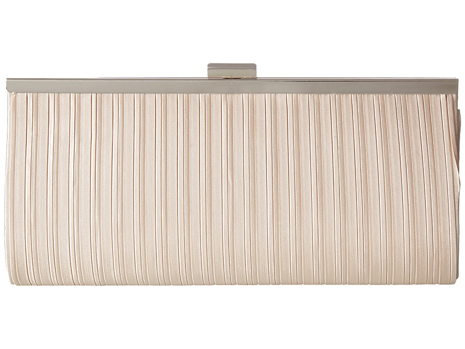 Jessica McClintock - Laura Pleated Satin Framed Clutch (Champagne) Clutch Handbags