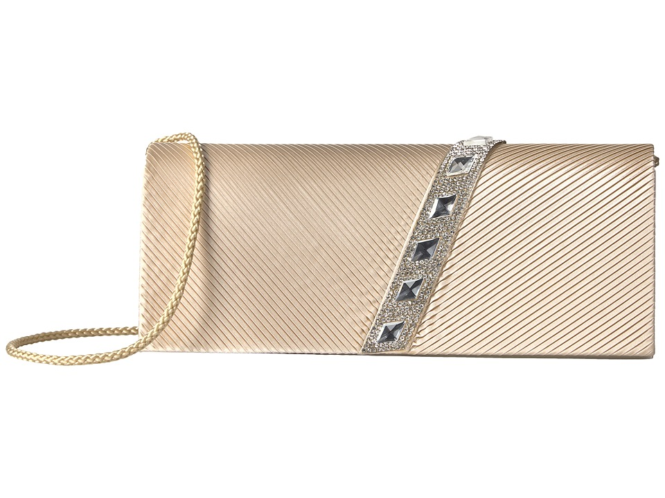 Jessica McClintock - Nancy Satin Pleated Clutch with Rhinestones (Champagne) Clutch Handbags